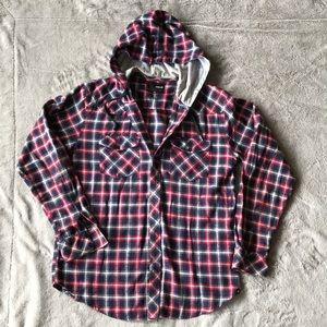Hurley flannel button down with hood